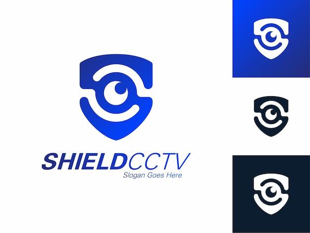 Serviços de segurança escudo olho mão logotipo cctv defender modelo de design assistindo tecnologia de contorno azul