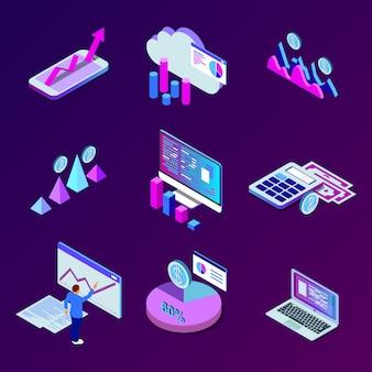 Serviços de smartphone móvel nuvem conceito com botões de aplicativos isométricos definir análise de dados de negócios de ilustração