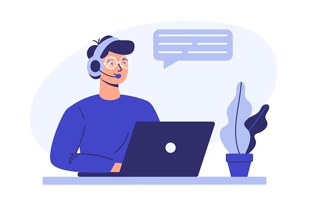 Serviços de suporte ao cliente um homem com fones de ouvido e um microfone está sentado em um laptop