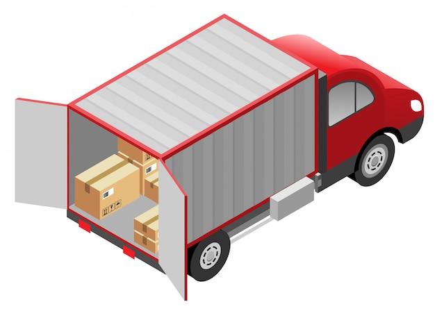 Serviços de transporte, entrega de mercadorias. caixas de papelão e caminhão van