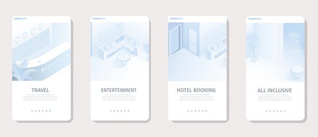 Serviços do hotel para banner de mídia social de férias