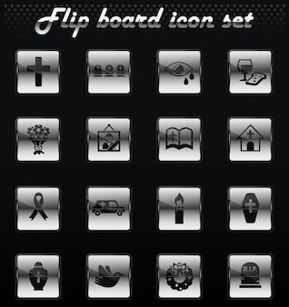 Serviços funerários vetoriais de ícones de flip mechanical para design de interface de usuário