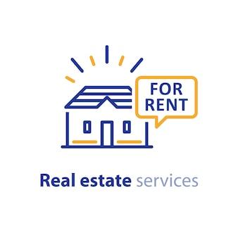 Serviços imobiliários, sinal de casa para alugar, balão com texto, propriedade alugada, aluguel de apartamento, ícone de linha