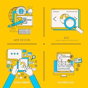 Serviços móveis e conceitos de marketing na web em estilo de linha