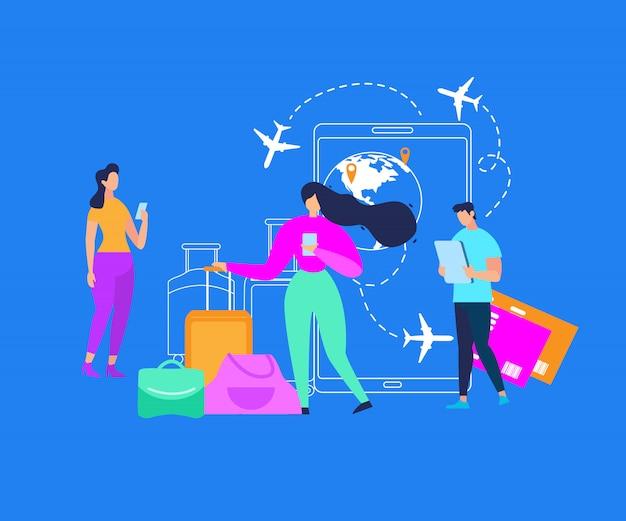 Serviços móveis para viajar pessoas plana vector