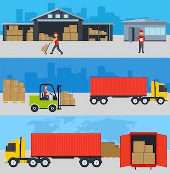 Serviços na entrega de mercadorias, carga e descarga de mercadorias para um armazém