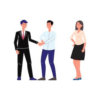 Serviços notariais e cena de assistência jurídica com personagens de desenhos animados de pessoas casal consulta com advogado.