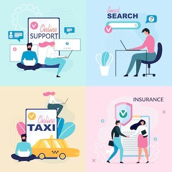 Serviços on-line e conjunto de cartazes de anúncio de suporte virtual