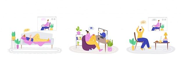 Serviços on-line psicológicos - suporte a distância pessoal ou assistência em casa pela internet