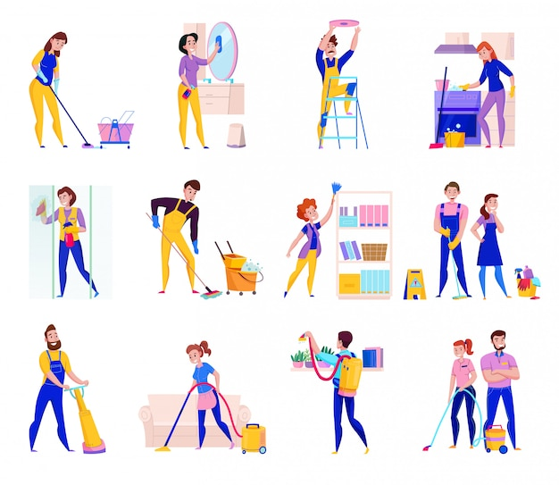 Serviços profissionais de limpeza ícones planas conjunto com prateleiras espanando o chuveiro lavando pisos limpando ilustração isolada
