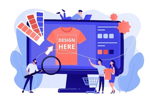 Serviços sob demanda de impressão de camisetas. design promocional de roupas