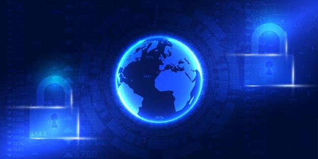 Serviços web de tecnologia cibernética futura para negócios e projeto de internet. segurança cibernética e proteção de informações ou de rede.
