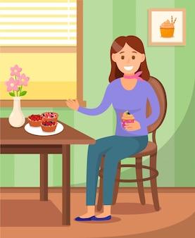 Servido de mesa com sobremesas plana cor ilustração
