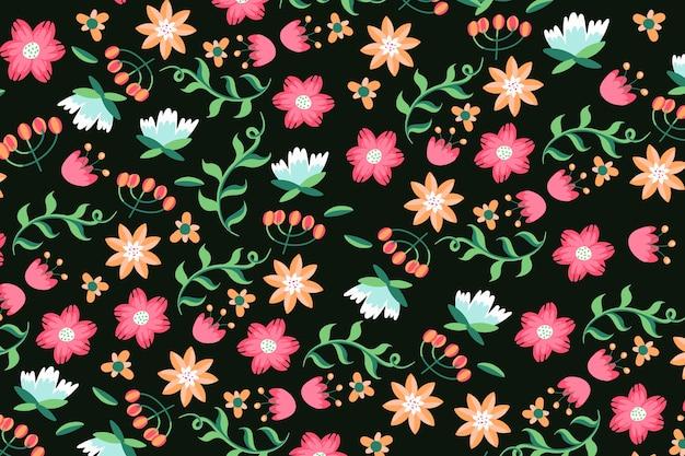 Servido floral colorido impressão em fundo preto