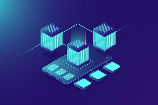 Servidor de armazenamento em nuvem, upload de dados de celular, rack de sala de servidores