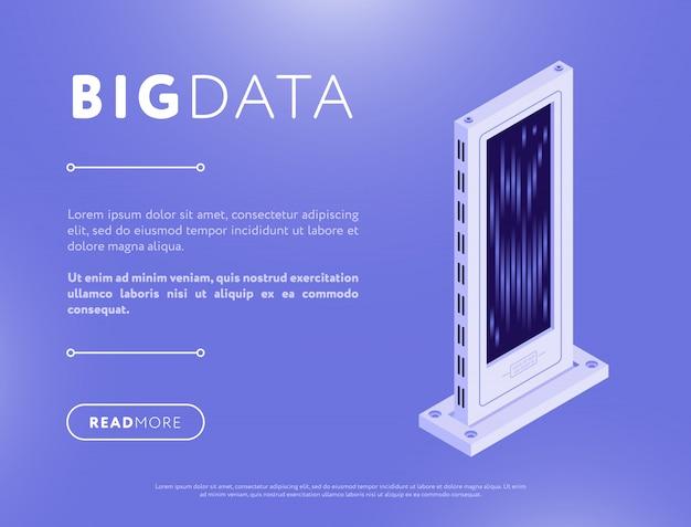 Servidor de banco de dados isométrico no design de páginas da web