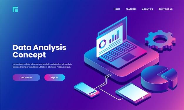 Servidor de laptop isométrico conectado com smartphone, tablet e gráfico de pizza infográfico para análise de dados e gerenciamento de site ou design de página de destino.