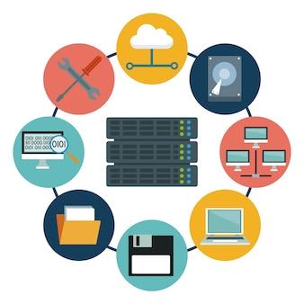 Servidor de rack e ícones elementos centro de dados ao redor