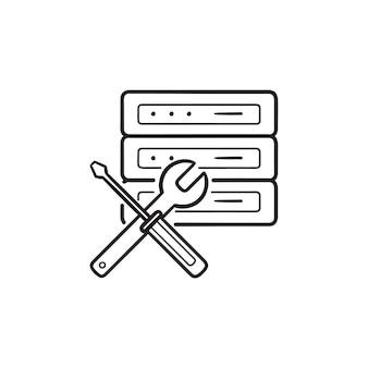 Servidor e chave inglesa com ícone de doodle de contorno desenhado de mão de chave de fenda. conceito de manutenção de banco de dados e servidor