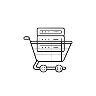 Servidor no ícone de doodle de contorno desenhado de mão de carrinho de compras. hospedagem de comércio eletrônico, conceito de servidor de comércio eletrônico