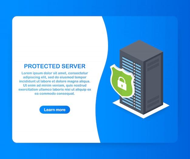 Servidor protegido. modelo isométrico de proteção de banco de dados