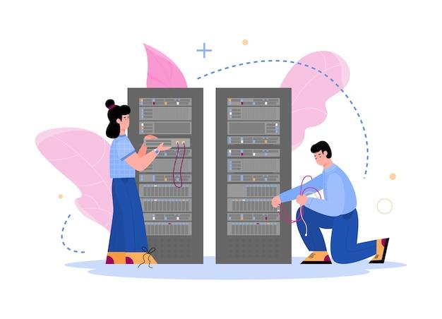 Servidores e equipe de hospedagem de data center. tecnologia da computação e equipamento de centro de armazenamento de banco de dados,