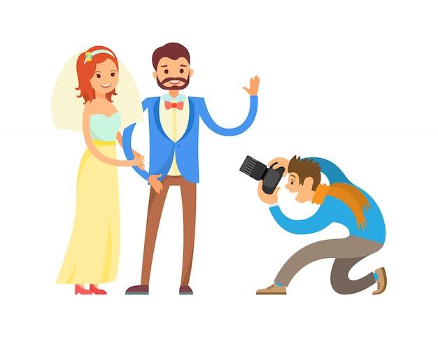 Sessão de fotos de casamento de recém-casados por fotógrafo