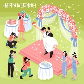 Sessão de fotos de casamento lindo e três fotógrafos profissionais, ilustração isométrica