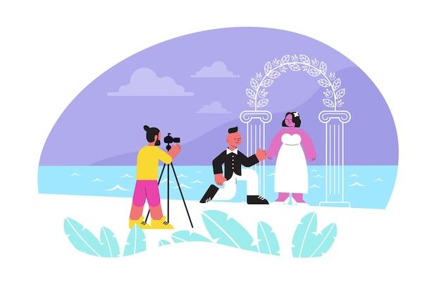 Sessão de fotos de composição plana de casamento com pessoas de um casal recém-casado tirando fotos perto de um ponto de referência