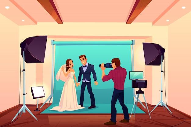Sessão de fotos de estúdio de casamento com noiva e noivo