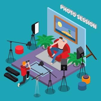 Sessão de fotos no estúdio isométrico com cara de aparência brutal posando para o fotógrafo