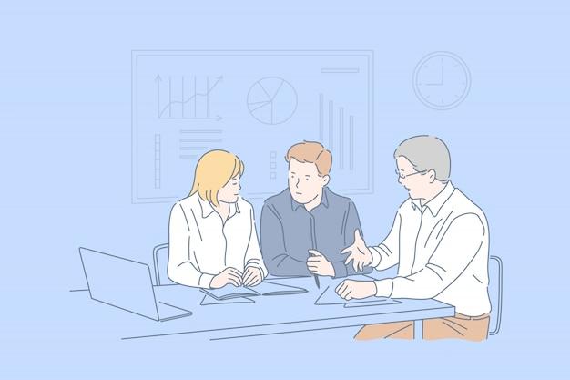 Sessão de negócios, cooperação, conceito de trabalho em equipe