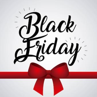 Sessão de sexta feira preta oferta arco de convite de compras fita