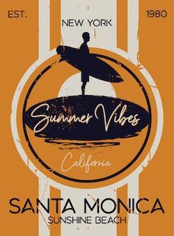 Sessão de surf de verão santa monica
