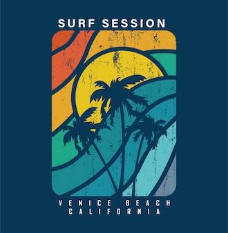 Sessão de surf em venice beach california