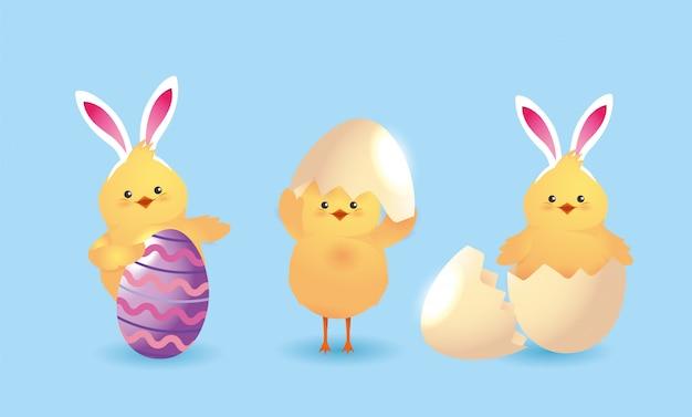 Set chick vestindo diadema orelhas de coelho e decoração de ovos