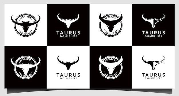Set chifre, design de logotipo de rótulo vintage de gado country western bull