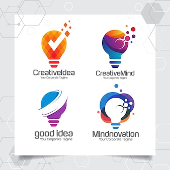 Set collection bulb logo template ideia design conceito