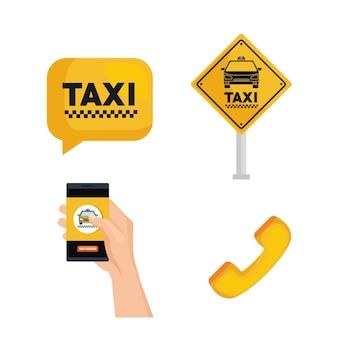 Set de serviço de táxi ordem de transporte internet