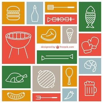 Set ícones churrasco vetor