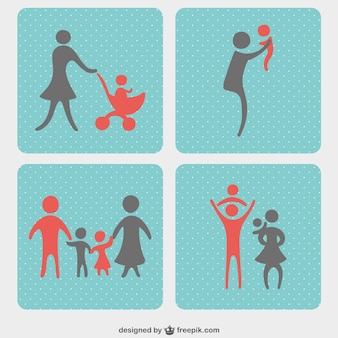 Set ícones familiares vetor