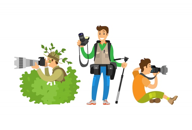 Set jornalistas fotográficos fazendo reportagem de transmissão