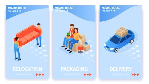 Set moving house, entrega de embalagens de realocação.