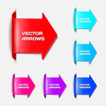 Set o setas na forma de etiquetas de papel