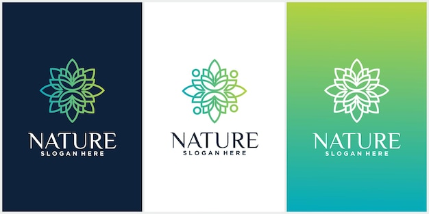 Set of nature conjunto de modelos de design de ornamento de logotipo em estilo linear moderno com flores
