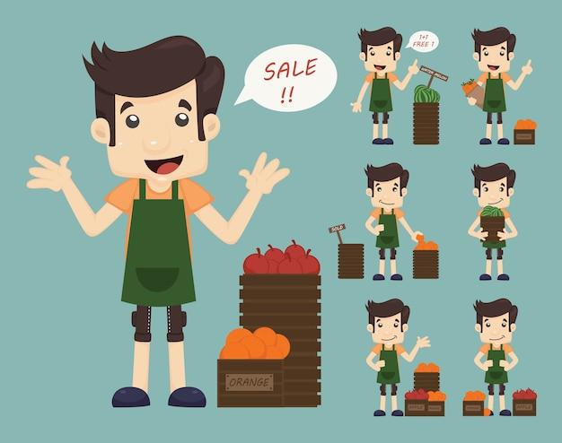 Set of youg merchant, venda homem na loja de compras do mercado