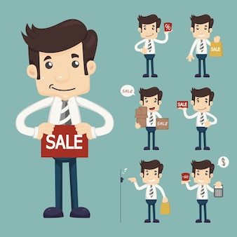 Set of youg sale man in market shopping store