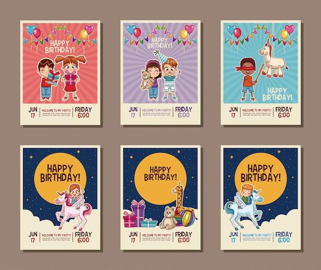 Set on birthday kids party invitation card