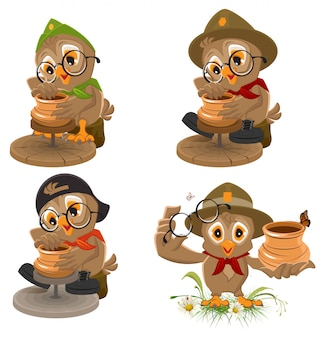 Set owl scout fabrica vaso de cerâmica