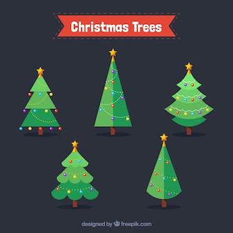 Set plana de árvores de natal com bolas